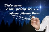 image of shooting stars  - Businessman about to write something against shooting star over forest at night - JPG