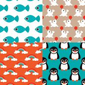 picture of sea fish  - Seamless deep sea kids retro animals penguins fish and circus seal rainbow illustration background pattern set in vector - JPG