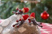 pic of gnome  - Three smiling Christmas gnomes playing on a stone - JPG