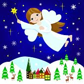 pic of little angel  - Little girl Christmas angel flying in the night sky over the city and trees - JPG