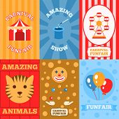 pic of funfair  - Amusement park mini poster set with carnival funfair amazing show animals isolated vector illustration - JPG