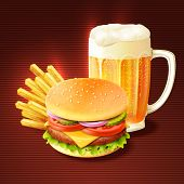 stock photo of hamburger-steak  - Hamburger french fries and beer glass mug realistic background vector illustration - JPG
