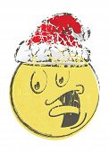 stock photo of sad christmas  - Illustration of christmas cartoon face emotions on white - JPG