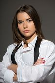 picture of strip-tease  - Sexy young Caucasian brunette woman wearing men white shirt - JPG