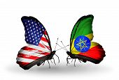 pic of ethiopia  - Two butterflies with flags on wings as symbol of relations USA and Ethiopia - JPG