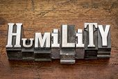 pic of humility  - humility word in mixed vintage metal type printing blocks over grunge wood - JPG
