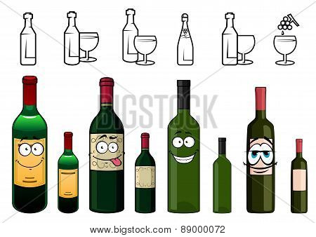 Cartoon characters of wine bottles in various design