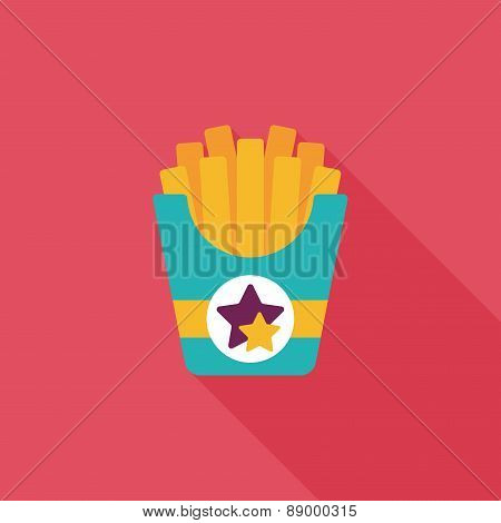 French Fries Flat Icon With Long Shadow,eps10