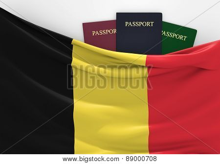 Travel and tourism in Belgium, with assorted passports