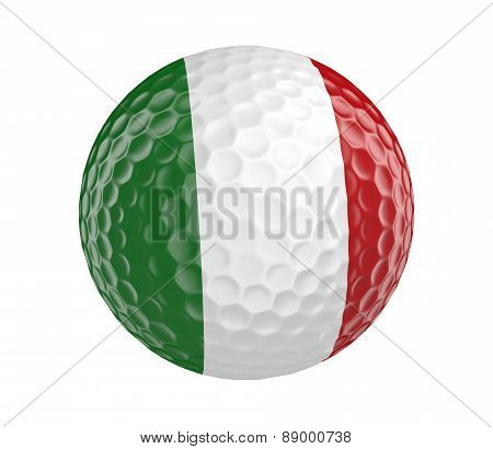 Golf ball 3D render with flag of Italy, isolated on white
