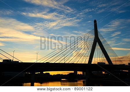 Zakim Bunker Hill Memorial Bridge at sunset in Boston, Massachusetts