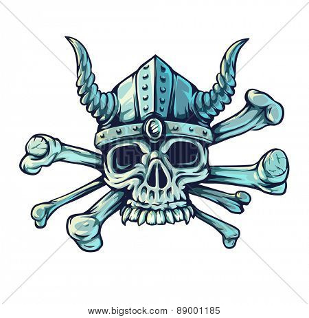 Skull with horns and crossed bones. Eps10 vector illustration. Isolated on white background
