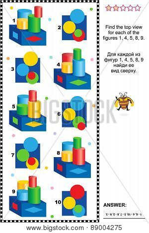 Find top view visual math puzzle with set of solids