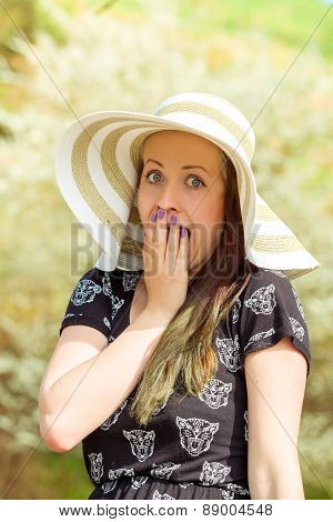 Grimace Portrait Of Cheerful Fashionable Woman With Hat