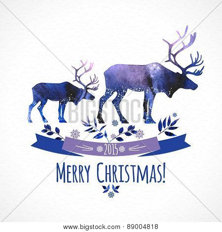 Deers christmas illustration of  watercolor