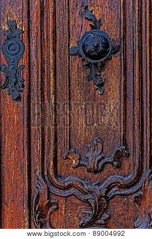 Detail Of A Medieval Wooden Door 5