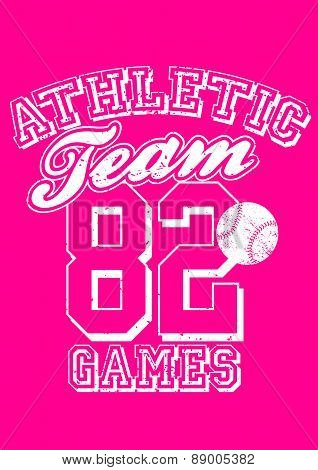 Female Athletic Team Basebal Design On Pink Background