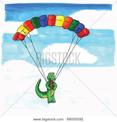 Hand drawn funny crocodile hanging at paraglider