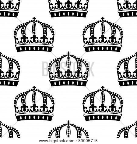 Medieval royal crowns seamless pattern