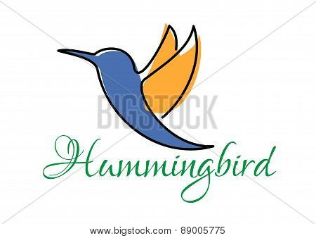 Abstract blue and orange doodle sketch of hummingbird