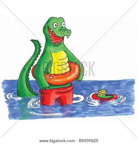 Hand drawn funny crocodile swimming in water