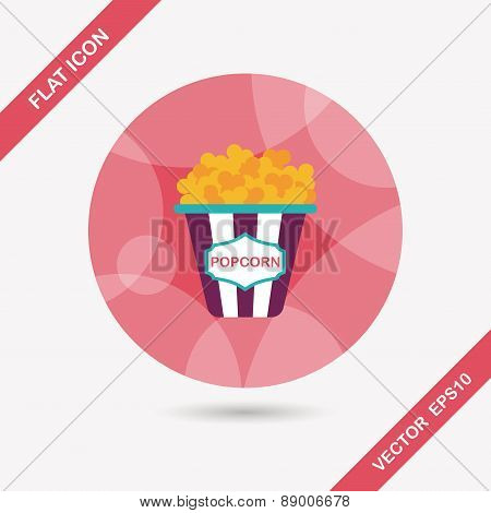 Popcorn Flat Icon With Long Shadow,eps10
