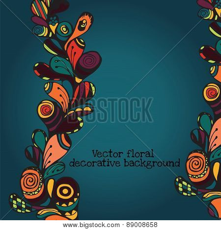 Vector Floral Decorative Paisley Ethnic Background. Pattern With Doodle Design Elements.