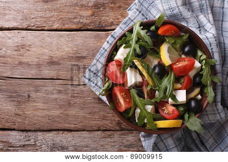 Arugula Salad With Cheese And Tomatoes, Horizontal Top View