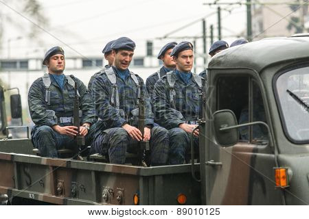 ATHENS, GREECE - MAR 25, 2015: During Military parade for the Greece Independence Day is an annual national holiday, on this day, Greeks pay tribute to the heroes of the Revolution 1821-1829.