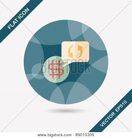 Currency Exchange Flat Icon With Long Shadow,eps10