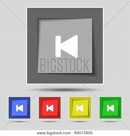 Fast Backward Icon Sign On The Original Five Colored Buttons. Vector