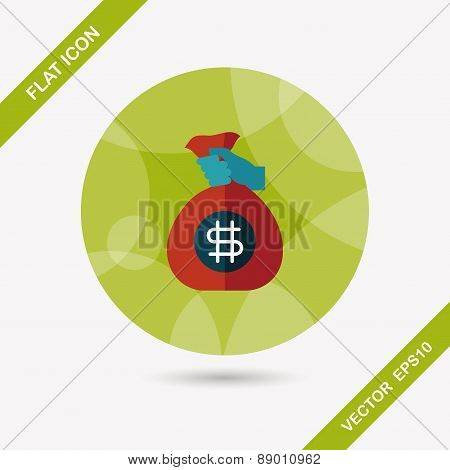 Money Bag Flat Icon With Long Shadow,eps10