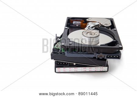 Hard Disk Drives Stacked Isolate On White Background.