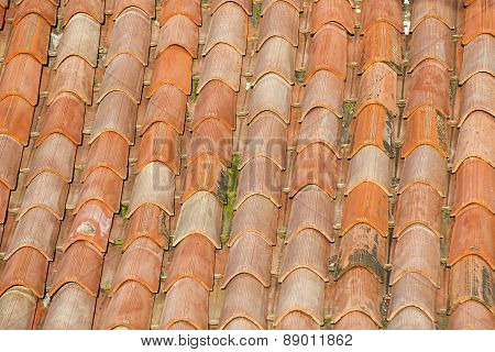 Unique, Weathered Terracotta Roof Background