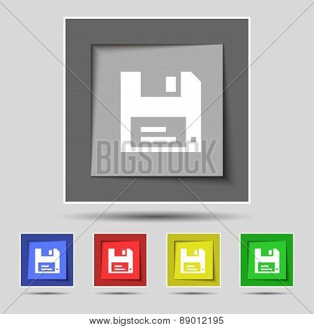 Floppy Icon Sign On The Original Five Colored Buttons. Vector