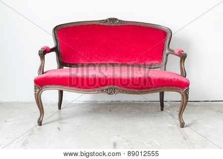 Red sofa Contemporary style in vintage room