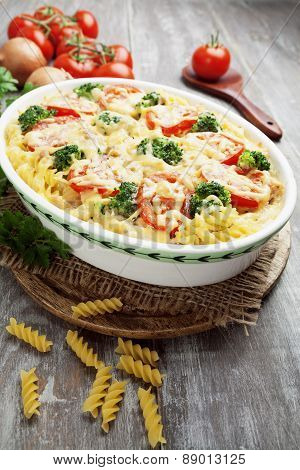 Casserole With Pasta, Broccoli And Tomatoes