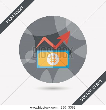 Business Chart Flat Icon With Long Shadow,eps10