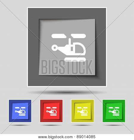 Helicopter Icon Sign On The Original Five Colored Buttons. Vector