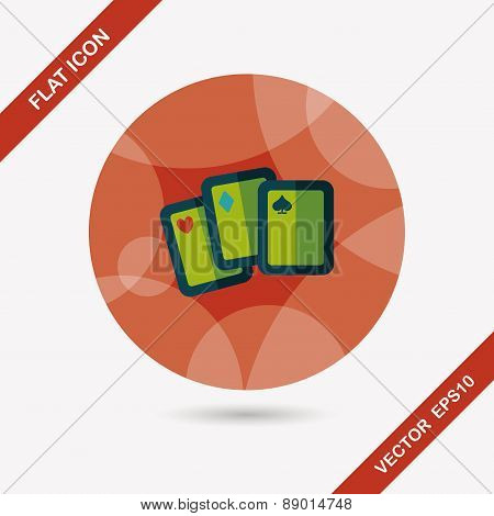 Playing Cards Flat Icon With Long Shadow,eps10