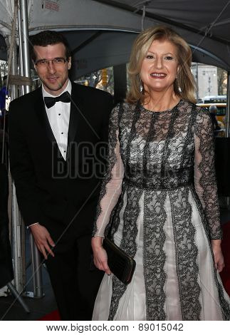 NEW YORK-APR 21: Author/columnist Arianna Huffington (R) attends the 2015 Time 100 Gala at Frederick P. Rose Hall, Jazz at Lincoln Center on April 21, 2015 in New York City.