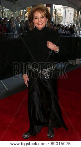 NEW YORK-APR 21: TV personality Barbara Walters attends the 2015 Time 100 Gala at Frederick P. Rose Hall, Jazz at Lincoln Center on April 21, 2015 in New York City.