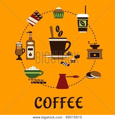 Coffee drinks and desserts flat icons
