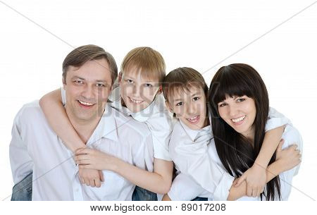 close-up portrait of happy family
