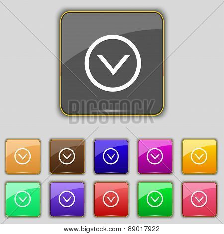 Arrow Down, Download, Load, Backup Icon Sign. Set With Eleven Colored Buttons For Your Site. Vector