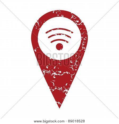 Red grunge wi-fi pointer logo