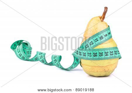 Sliced Apple And Pear With A Meter