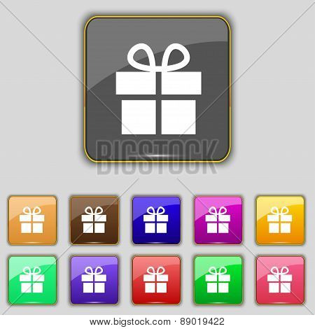 Gift Box Icon Sign. Set With Eleven Colored Buttons For Your Site. Vector