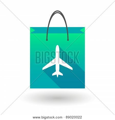 Shopping Bag Icon With A Plane