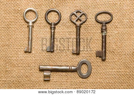 A Lot Old Keys To The Safe On A Very Old Cloth